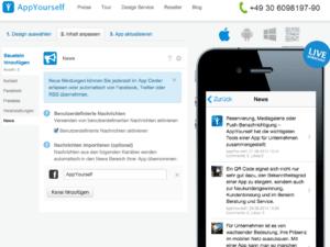 Das Newscenter im App Dashboard
