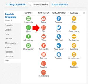PDF Upload im Dashboard auswählen