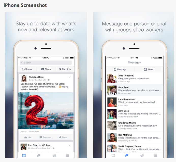 Facebook at work für Unternehmen