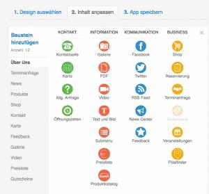 Passende Modulkategorien für die mobile Applikation