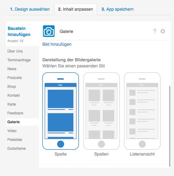 Die App Galerie zum Präsentieren von Bildern