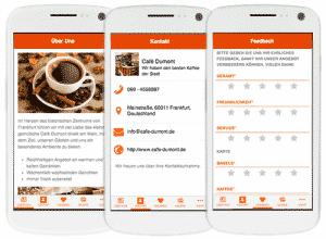 Die Firmen App bietet diverse Möglichkeiten