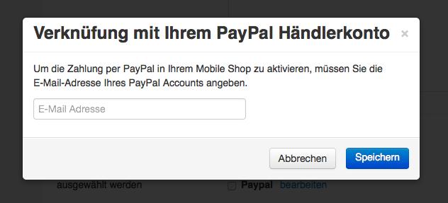 Per E-Mail das Paypal Konto anlegen