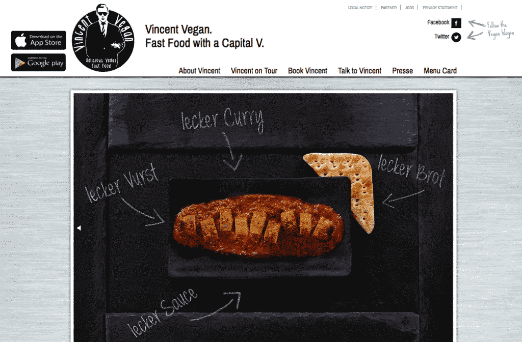 Die Website von Vincent Vegan