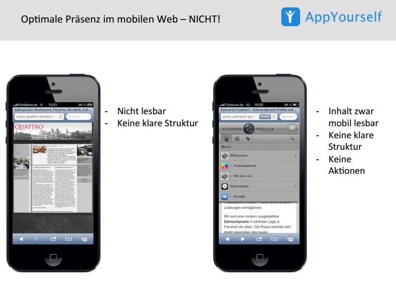 Apps und mobile Webites: so sollten sie es nicht tun