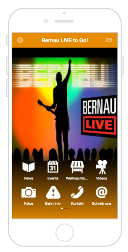 Der Homescreen der City App Bernau LIVE