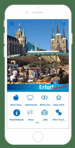 Homescreen der City App Erfurt informiert