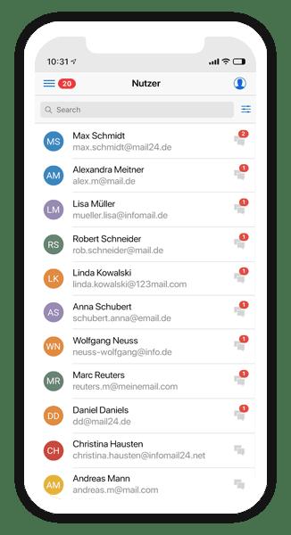 Die Nutzerliste in der Connect App