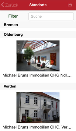 Dienstleistungs-App - Zeigen Sie die Standorte Ihren Filialen in der App