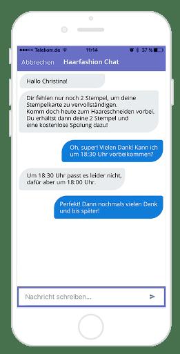 Chat-Funktion innerhalb des Kundenprofils mit Chat-Verlauf