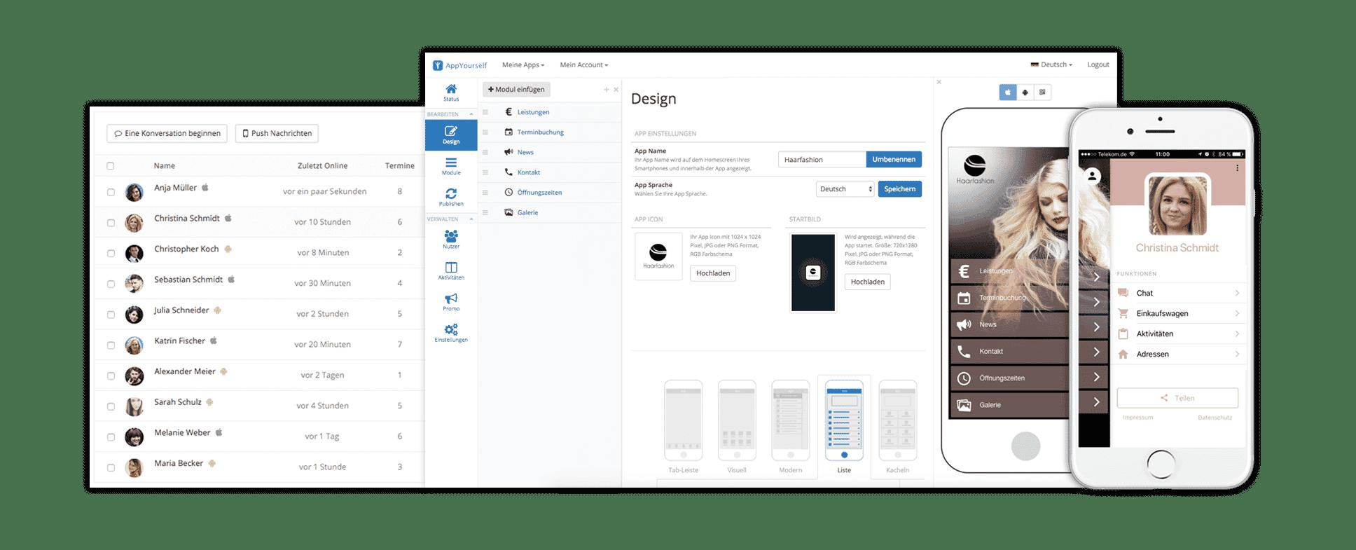 Der App Baukasten mit Kundenmanagement System