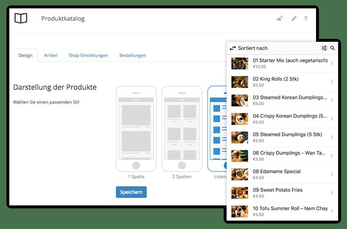 Mobile Speisekarte, Mobiler Shop - Alles ist möglich mit dem Produktkatalog