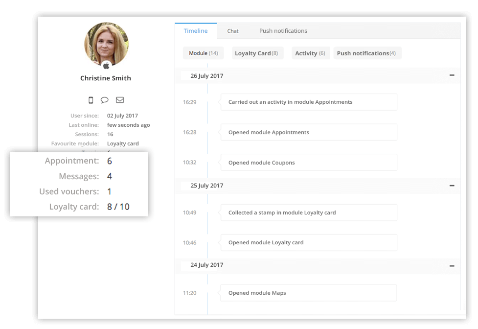 The detailed customer profile in our CRM for your app