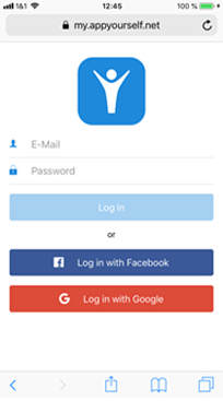 Login in to your AppYourself mobile dashboard