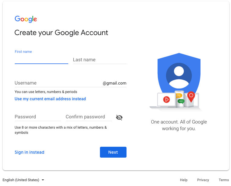 This is how you create your Google account
