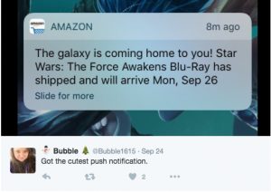 Kreative Push Nachrichten von Amazon