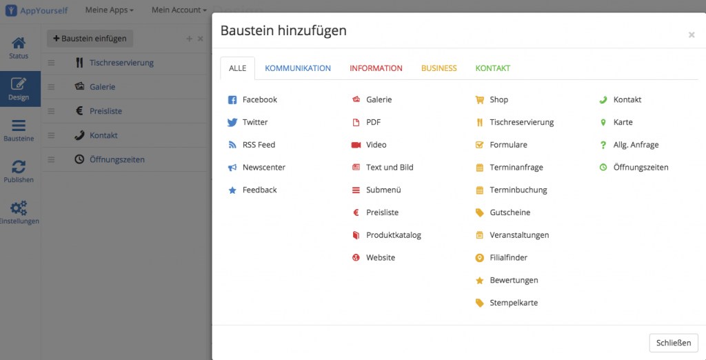 Ein Modul einfügen in dem App Baukasten von AppYourself