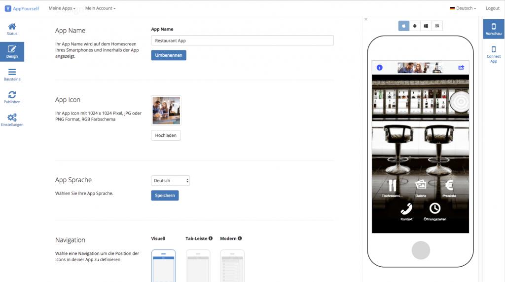 Das Design für den App Baukasten von AppYourself festlegen