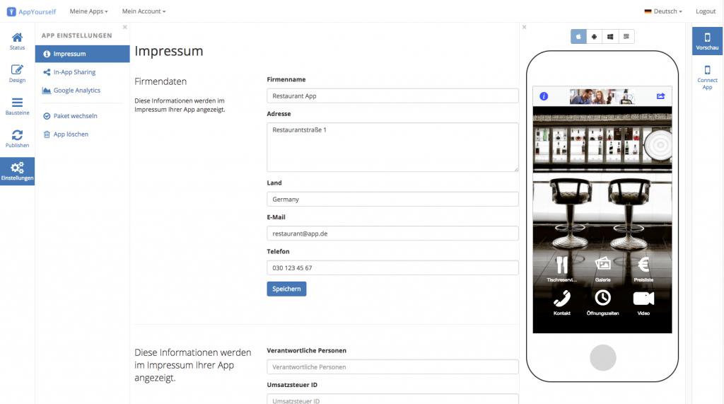 Das Impressum mit dem App Baukasten von AppYourself erstellen