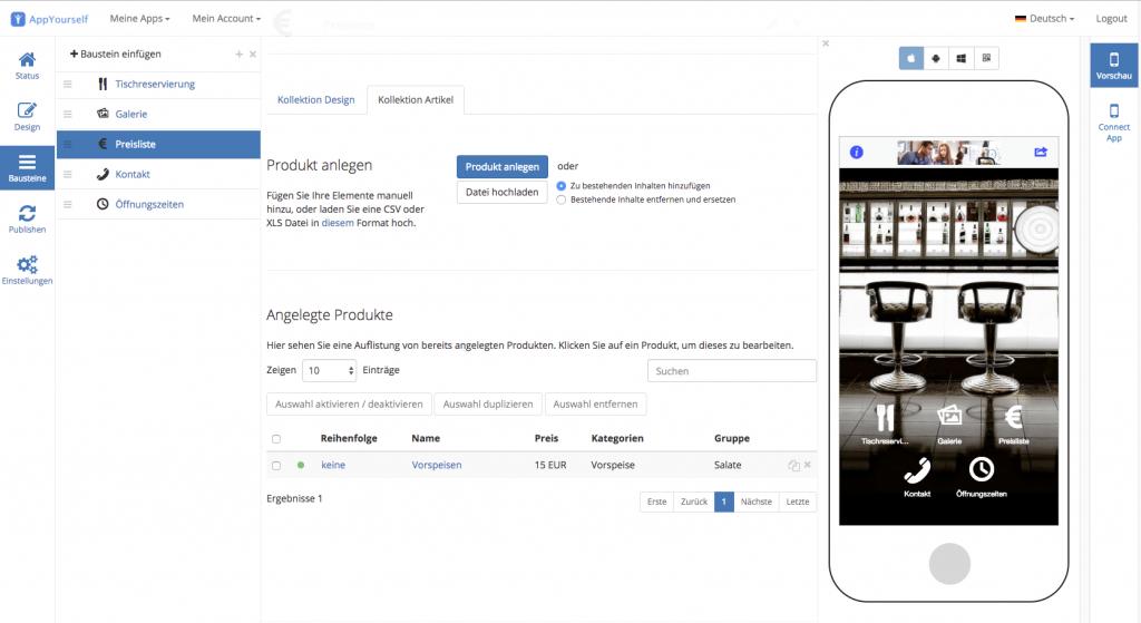 Das Preislisten Modul für den App Baukasten von AppYourself