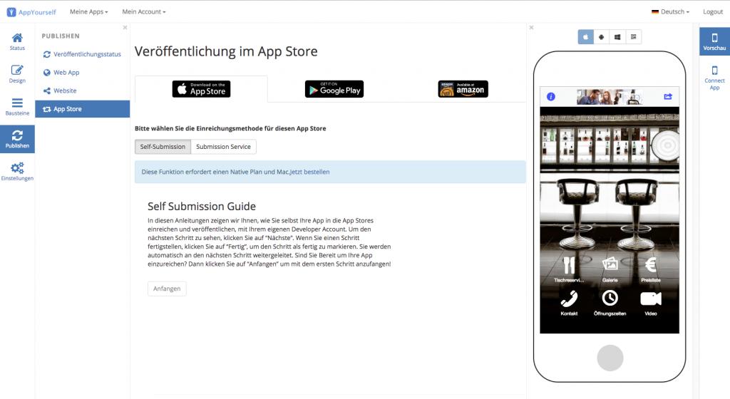 Die Veröffentlichung mit dem App Baukasten von AppYourself