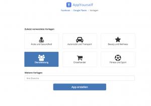 Die Vorlage für den App Baukasten von AppYourself um Daten von Facebook zu übernehmen