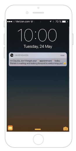 Your barber app and push notifcations in order to send a reminder