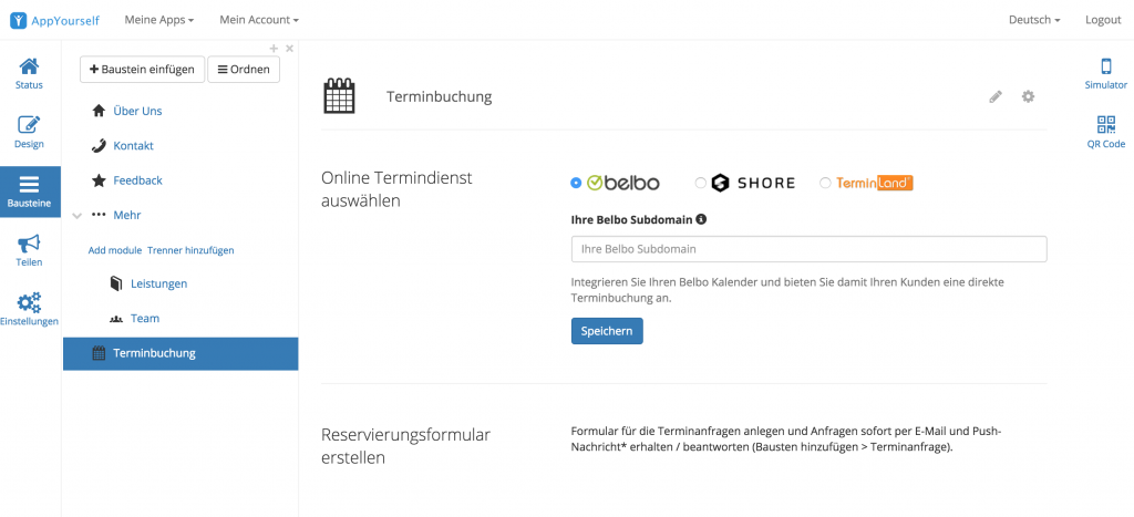 App Terminbuchung im App Dashboard