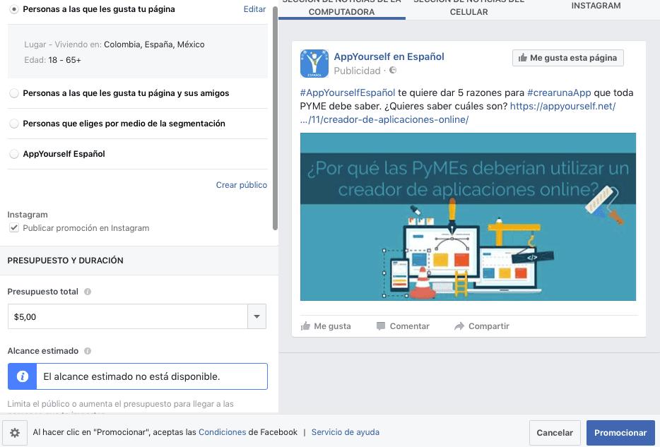 formulario facebook
