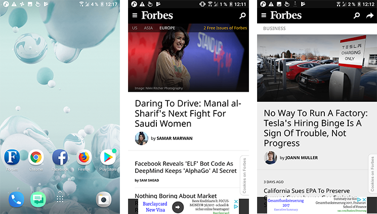 The Forbes PWA for a better user expirience