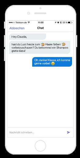 Mit der Friseur App Angebote und Aktionen per Chat-Funktion verschicken