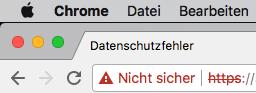 In der Adresszeile erscheint der Hinweis, dass die Website nicht HTTPS-verschlüsselt ist