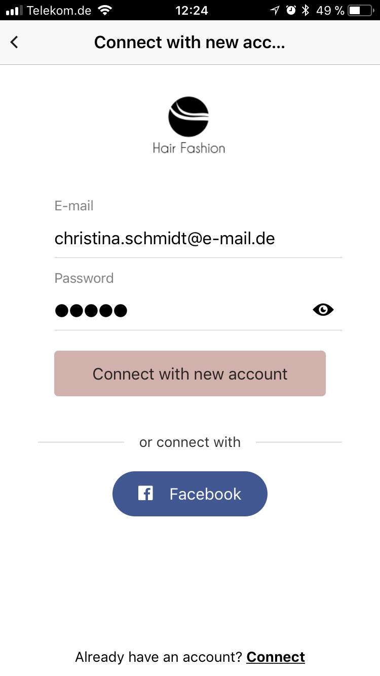 In-App registration for your App per e-mail or Facebook