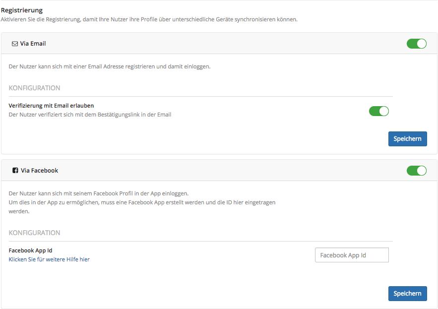 In-App Registrierung im App Dashboard per E-Mail oder Facebook aktivieren