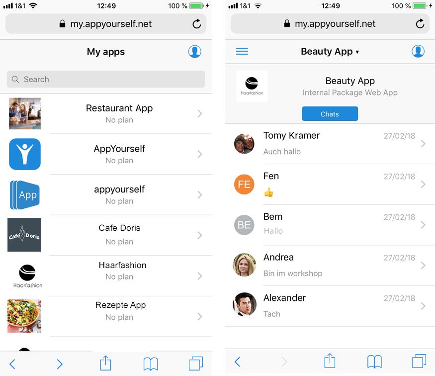 Mit dem mobile Dashboard schnell User und Chat Verläufe einsehen