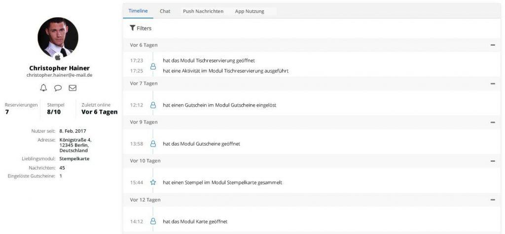 Nutzerliste und Aktivitäten des neuen AppYourself