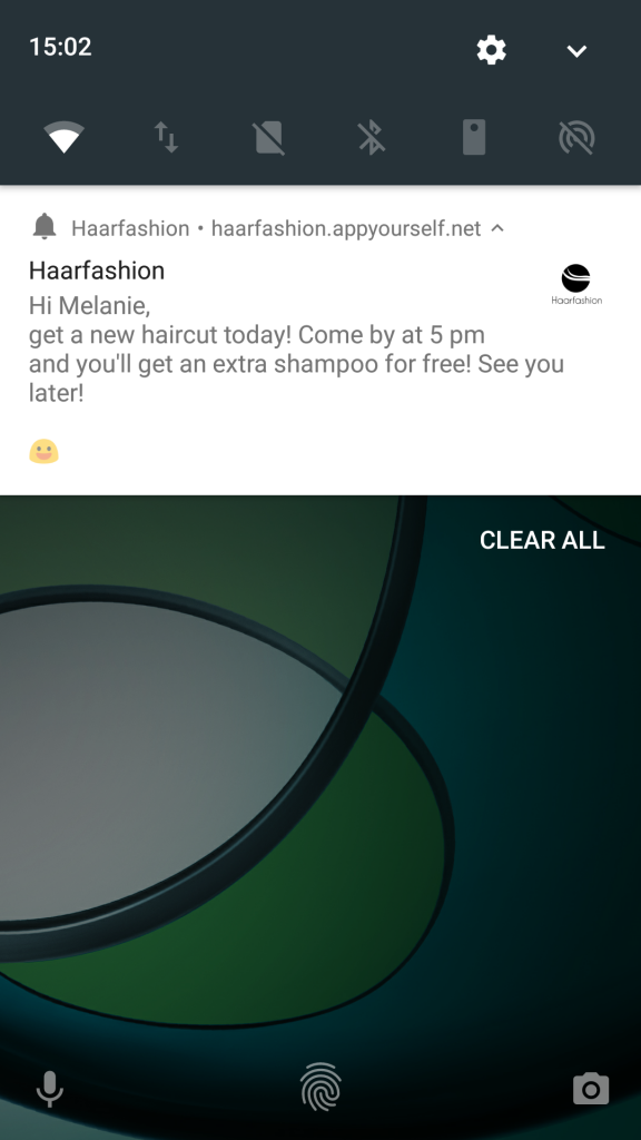 Push notifications sent via Progressive Web App