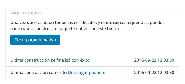 Crear paquete nativo