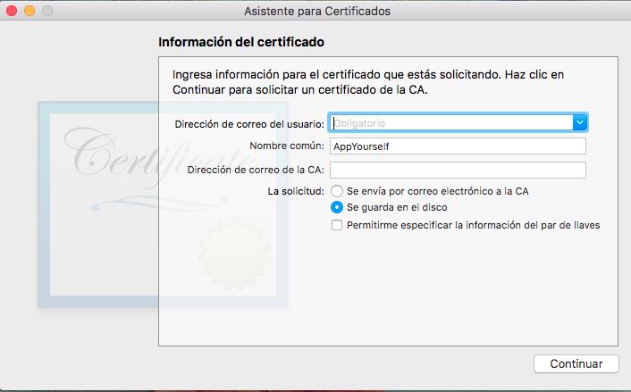 información del certificado