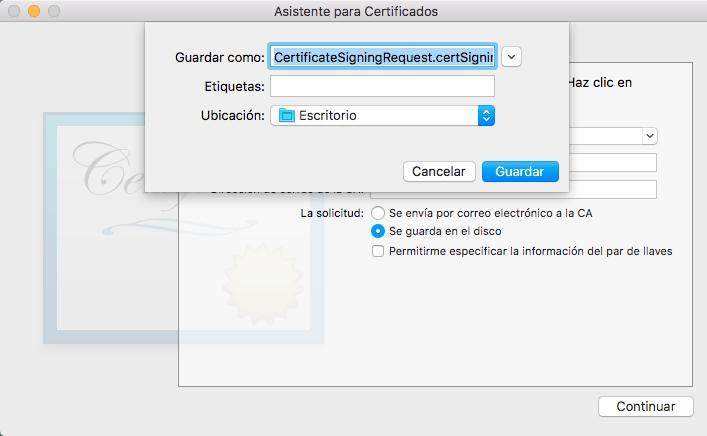 Asistente para certificados
