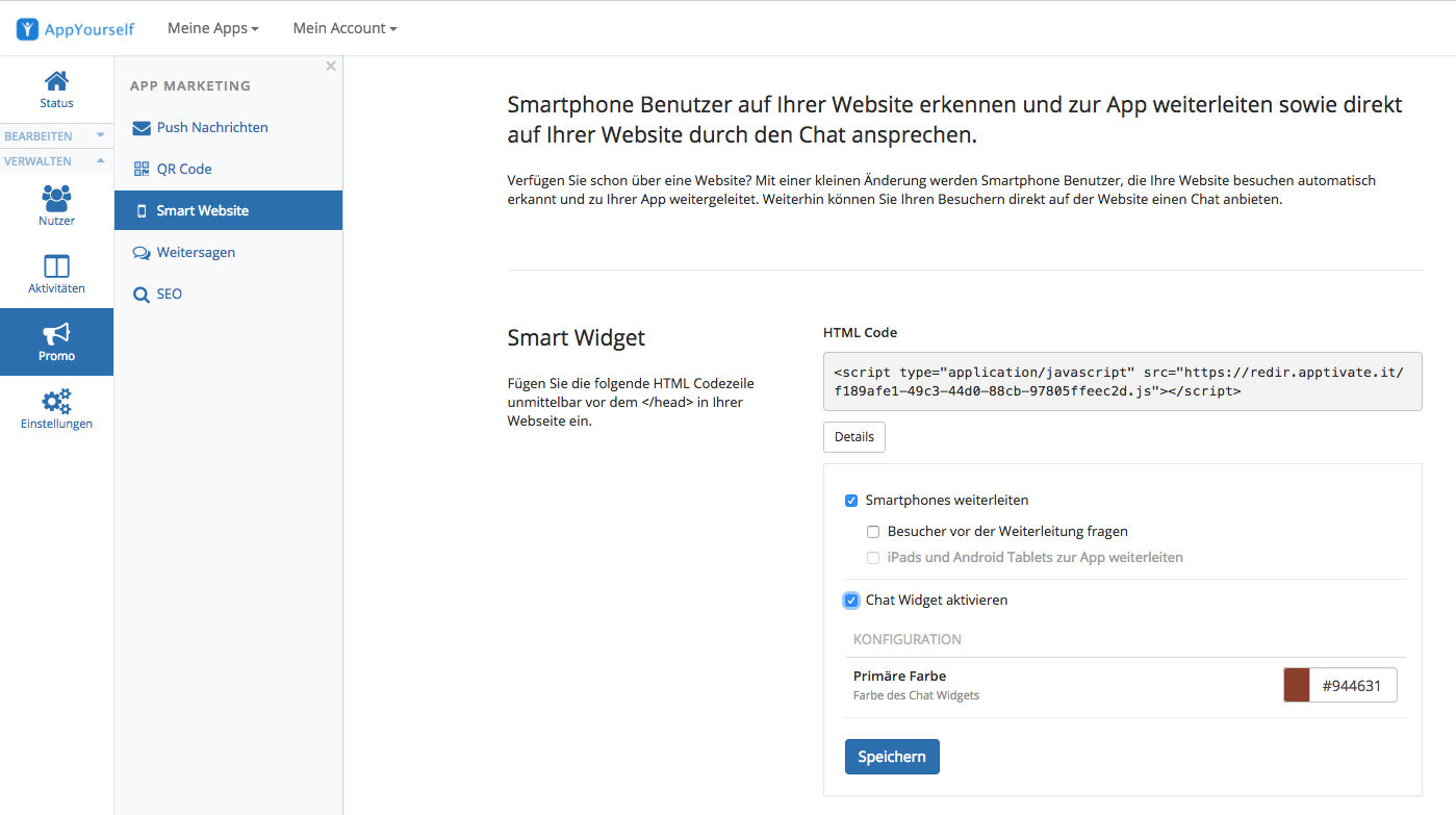 How can I combine my 1&1 website with the smart widget