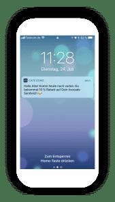 Mit der Business App schickst du Angebote und Aktionen per Chat Nachricht