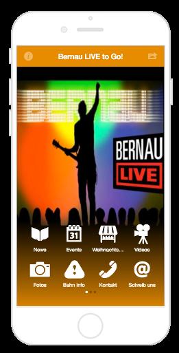 Der Homescreen der City App Bernau LIVE