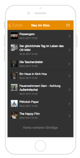 Kinovorstellungen in der City App Bernau LIVE