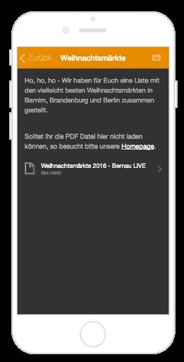 Seasonbedingte Events wie Weihnachtsmärkte in der City App Bernau LIVE