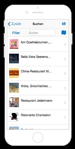 Restaurant Suche in der City App Erfurt informiert
