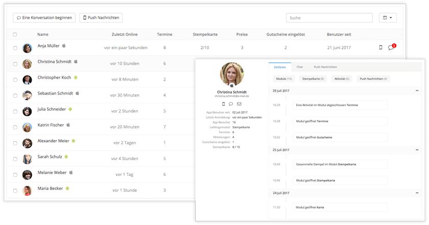 Kundenmanagement über die Progressive Web App