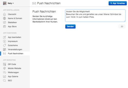 Push Nachricht im Dashboard erstellen