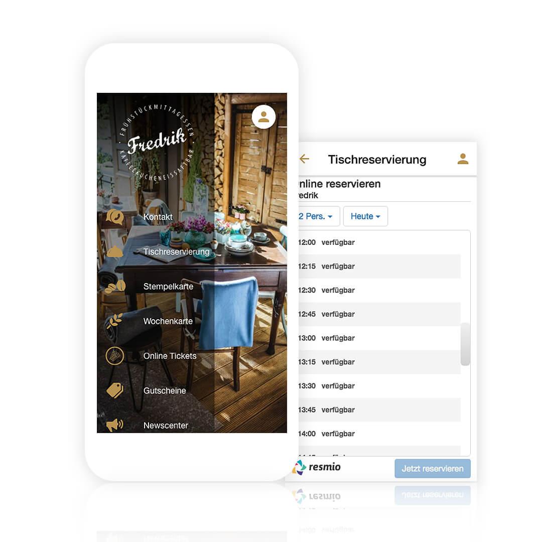 Über die eigene TIschreservierung App können Gäste sofort einen freien Tisch reservieren
