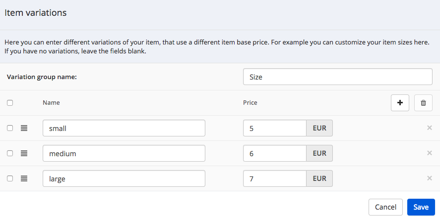 How you can add product variations to your shop module